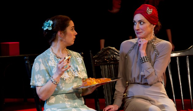 Geneviève Perrier and Mary Lee Bednarek in THE WOMEN.  Photo by Dave Sarrafian.