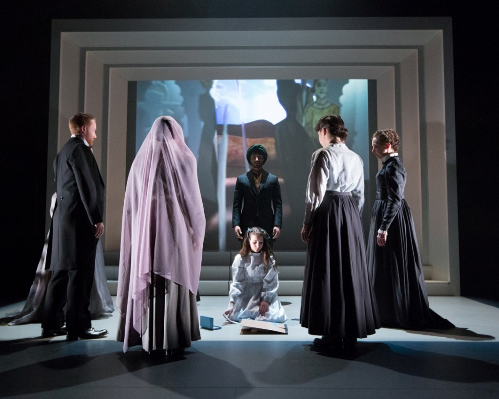 Bailey Ryon (seated in center) and members of the ensemble in Arden Theatre Company's THE SECRET GARDEN (Photo credit: Mark Garvin)