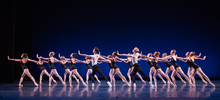 Artists of Pennsylvania Ballet in George Balanchine's The Four Temperaments. Photo by Alexander Iziliaev