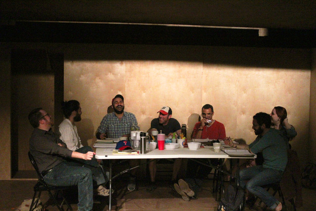 A table read of THE INVISIBLE HAND. Matt Pfieffer is far left.