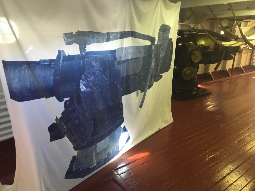 "Sarah Kabot's ""Toll"", part of ARTSHIP OLYMPIA, challenges in fabric the aggressive physicality of the Olympia's large guns."