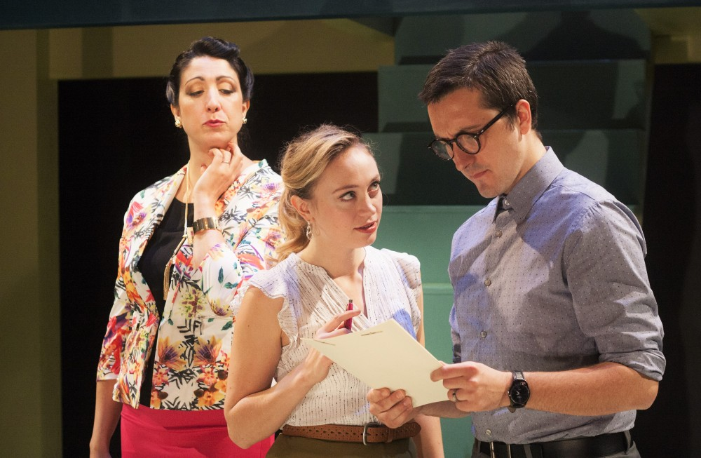(l-r) Eleni Delopoulos, Emilie Krause, and Adam Hammet in RADIANT VERMIN. Photo credit: Katie Reing.