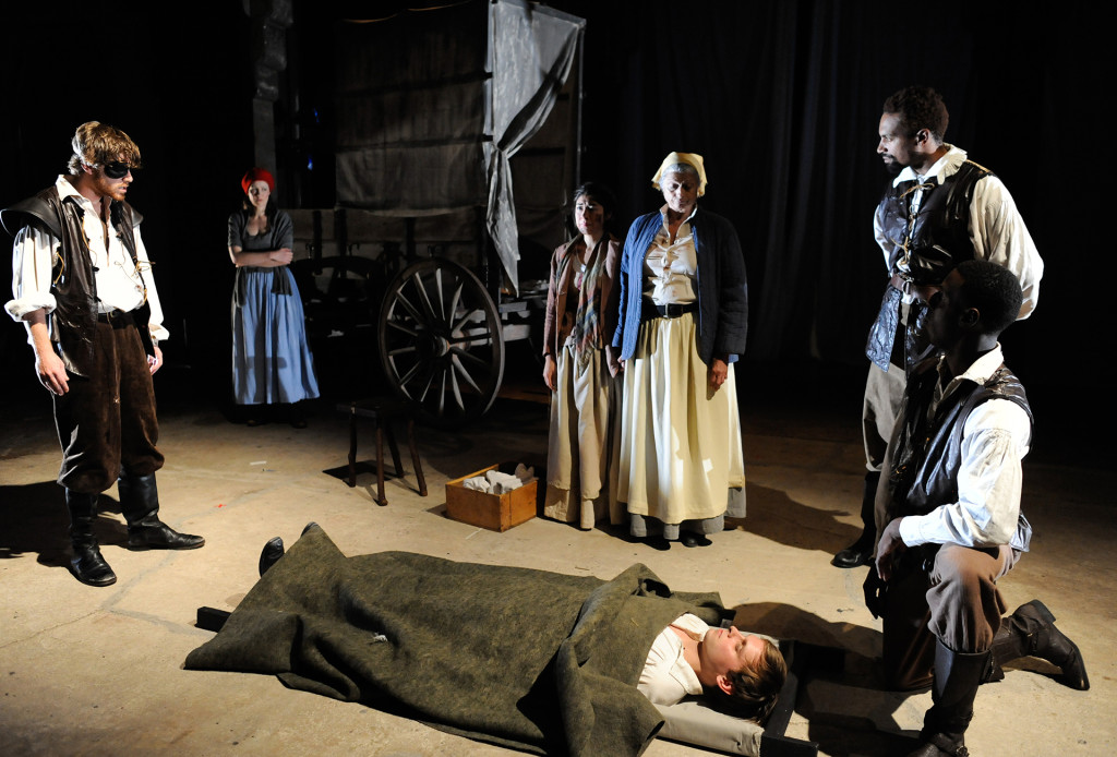Lee Cortopassi (as Patch), Leah Gabriel (as Yvette), Leigha Kato (as Kattrin), Janis Dardaris (as Mother Courage), Tom Carman (as Swiss Cheese), Carlo Campbell (as Sargent), and Ashton Carter (as Soldier) in Quintessence Theatre's MOTHER COURAGE AND HER CHILDREN. Photo by Shawn May.