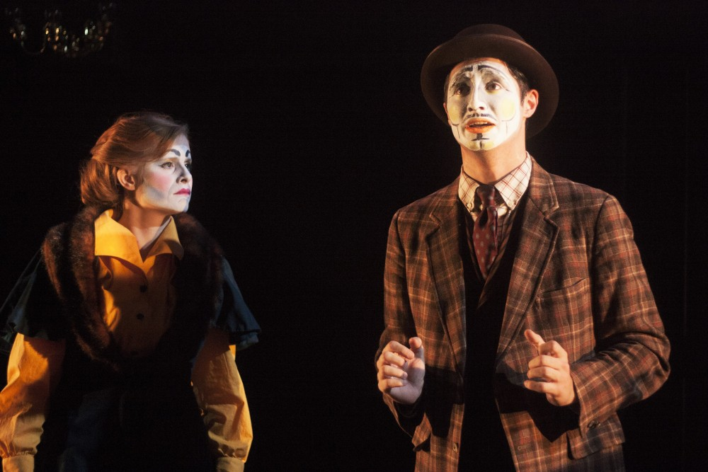 Inis Nua Theatre Company's 2011 breakout hit DUBLIN BY LAMPLIGHT returns to the stage with Rachel Brodeur (Eva) and Joey Teti (Willy) at Drexel's Mandell Theater  November 9-20, 2016. The production is produced in partnership with Drexel University's Mandell Professionals in Residence Project (MPiRP). Photo credit: Katie Reing.