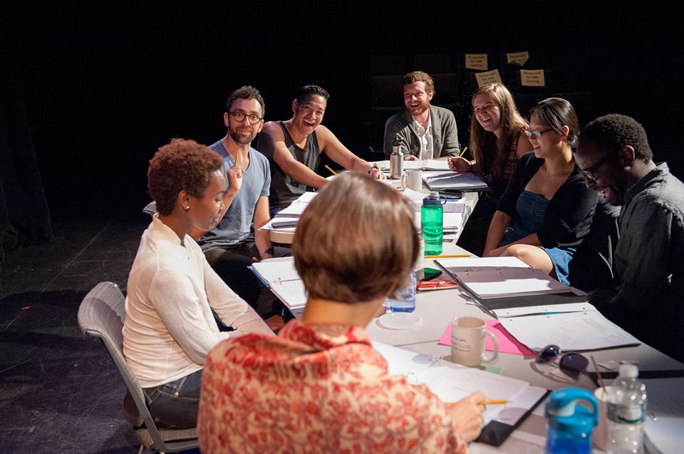 Rehearsal for WHITE by James Ijames, PlayPenn 2015. Patrick Ross sits rear, center. Photo by John Flak.
