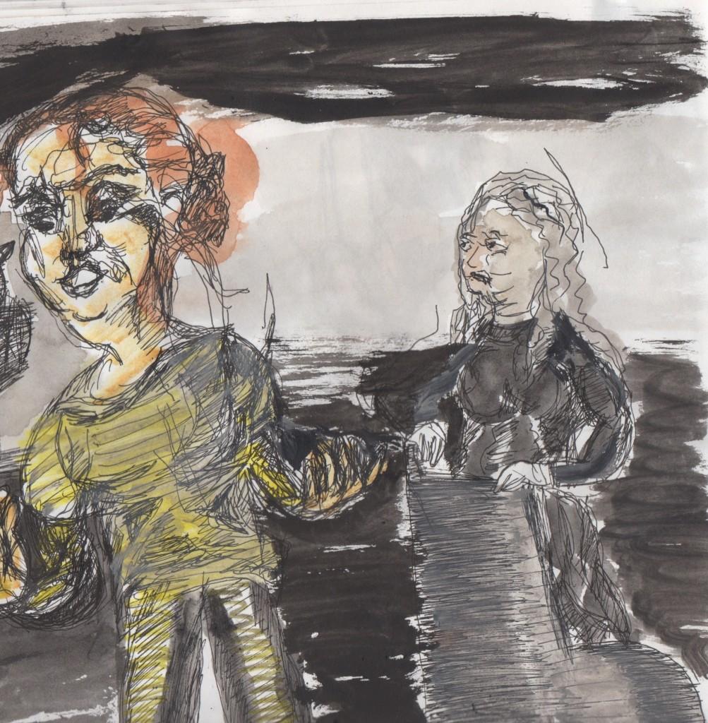 Lenta (Aneta Kerova) and the Old Woman (Azetz Papadopoulou). Sketch by Chuck Schultz.