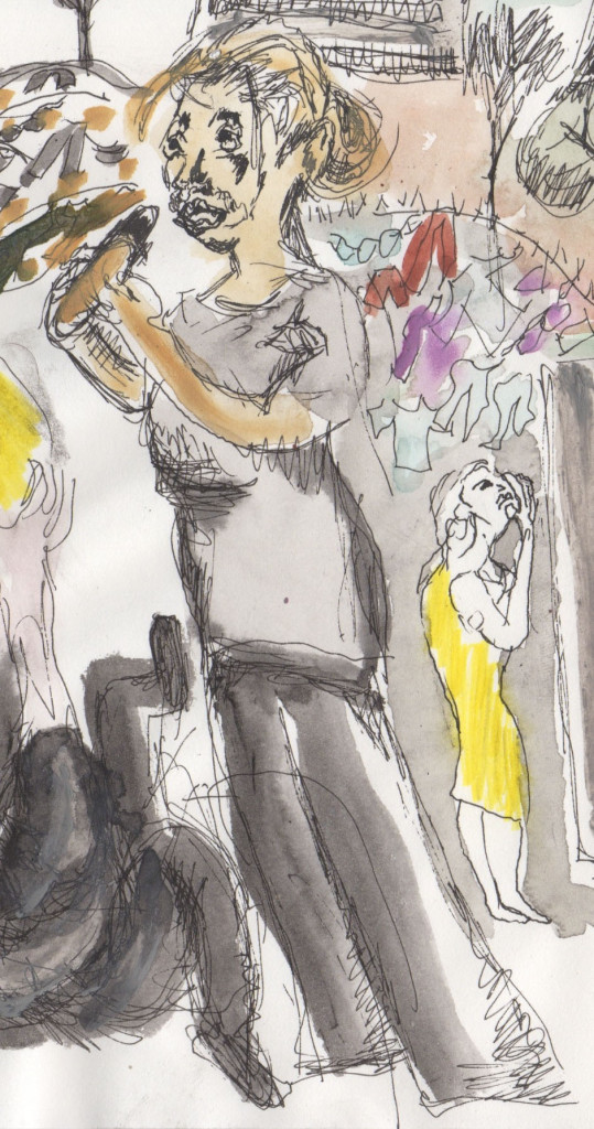 The existential moment of the play:  Lenka eating a hot dog in Central Park. Sketch by Chuck Schultz.