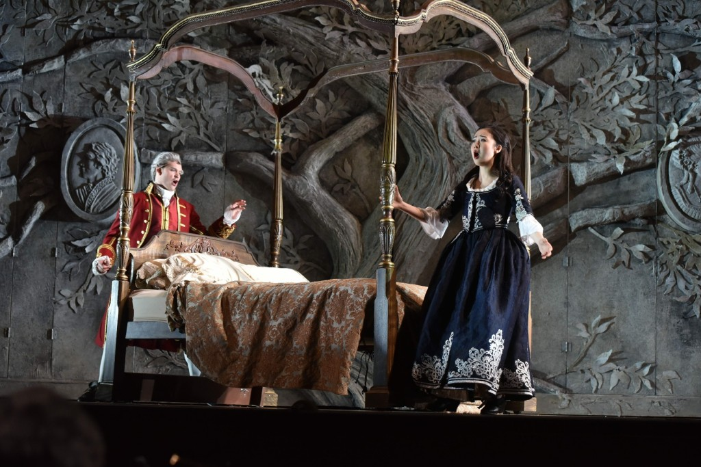 Brandon Cedel as Figaro and Ying Fang as Susanna. Photo credit: Kelly & Massa for Opera Philadelphia.