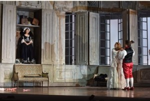 Ying Fang as Susann, Layla Claire as Countess Almaviva and John Chest as Count Almaviva. Photo credit: Kelly & Massa for Opera Philadelphia