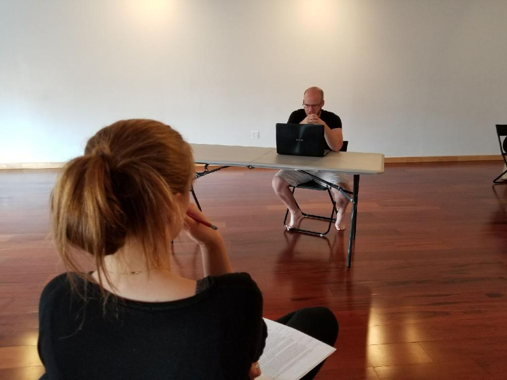 """Lauren Shover (Artistic Dir/ Dir), Andrew Chupa (Rob), """"Rob"""", Photo by: Phil Czekner.  All photos from recent rehearsals of SUICIDE STORIES."""