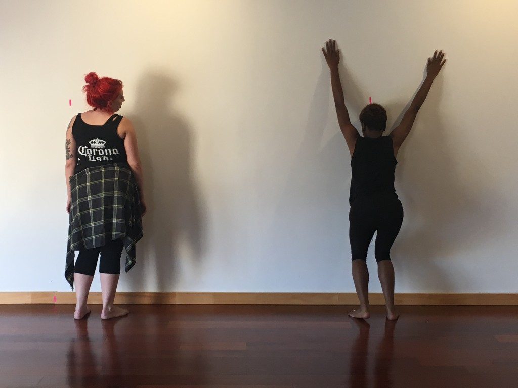 """Brittany Griffiths (Choreographer), Mahala Roberson (the Dancer), """"Casual Rape"""", Photo by Lauren Shover. All photos from recent rehearsals of SUICIDE STORIES."""