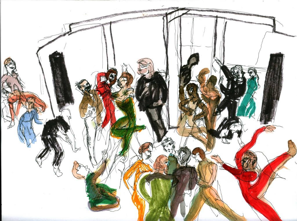 Rehearsal was beginning to take off and each dancer has their own way of preparing. Some dancers are more relaxed and others are stretching. Sketch by Chuck Schultz.