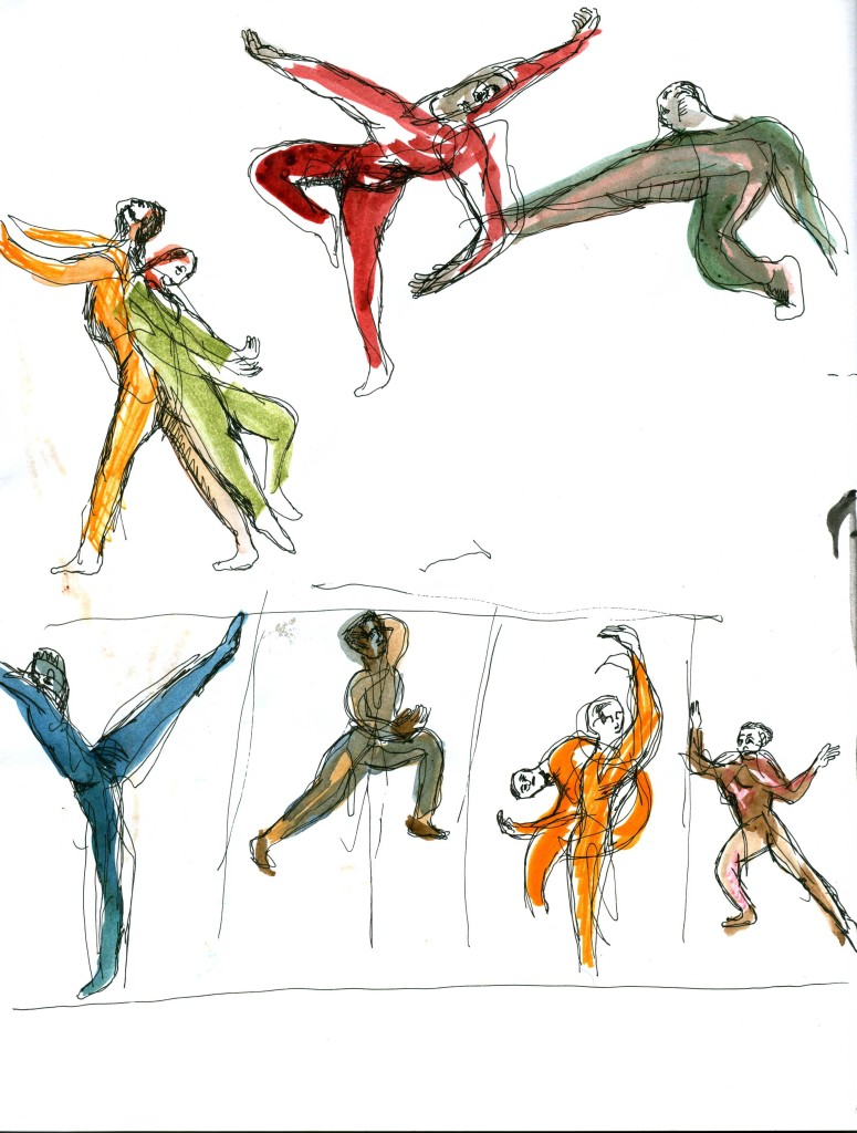 Later in the performance the dancers are separated, and leap through the walls of what seems to be four rooms. The dancers in their own space move and reshape the space around them. Sketch by Chuck Schultz.