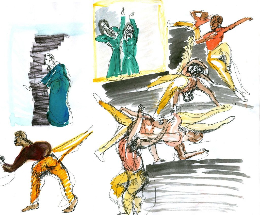 The opening solo with Briggita Herman in the background under florescent light demarcated the different performance styles. Sketch by Chuck Schultz.