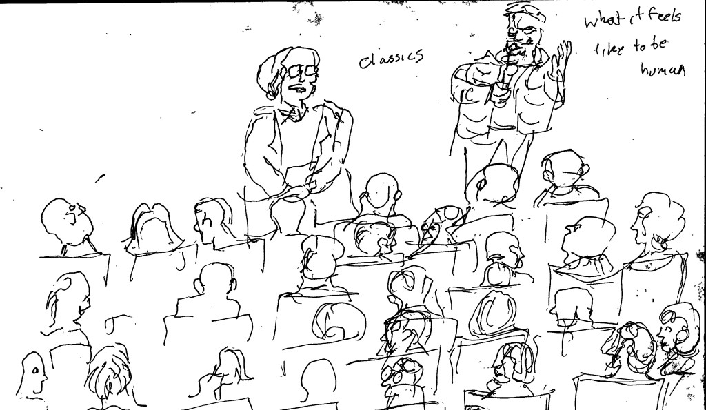 After show talk. Sketch by Chuck Schultz.