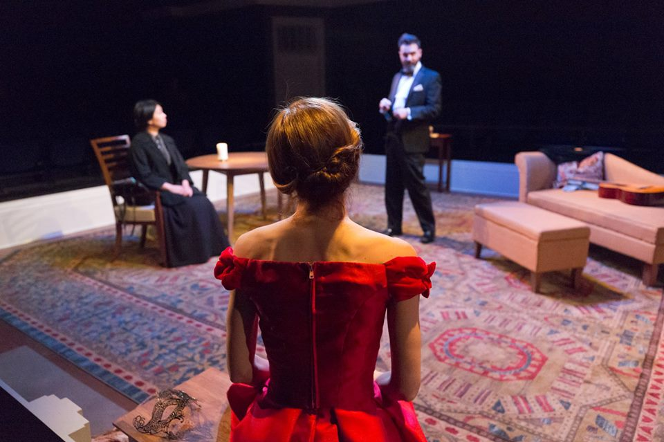 Becky Chong, Katharine Powell, and Cody Nickell in A DOLL'S HOUSE. Costumes by Olivera Gajic; set by Jorge Cousineau. Photo by