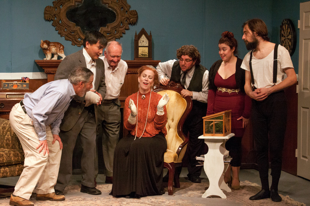 """Family: Members of Sycamore family meet The Grand Duchess Olga Katrina in Allens Lane Theater's production of """"You Can't Take It With You"""" (l to r Jim Golden, Robert Ruelan, Richard Lee, Jessica McDonald, Dan Shefer, Brianna Borouchoff, & Geremy Webne-Beheman). Photo courtesy of Gerald Cyrus"""