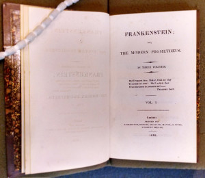 Mary Shelley, Frankenstein Vol. 1. London: Printed for Lackington, Hughes, Harding, Mavor, & Jones, Finsbury Square, 1818. On display at the Rosenbach.