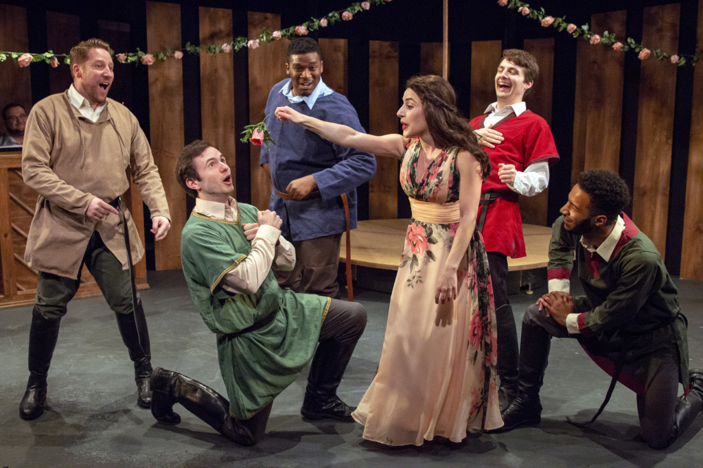 """Joey Abramowicz, Patrick Romano, Rajeer Alford, Eileen Cella, Luke Bradt, and Jordan Dobson sing """"The Lusty Month of May"""" in Camelot, on stage at Act II Playhouse until June 24. Photo by Bill D'Agostino."""