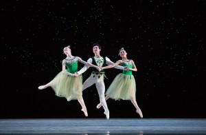 Pennsylvania Ballet Corps de Ballet Members Jacqueline Callahan, Zecheng Liang, and Nayara Lopes in George Balanchine's JEWELS. Photo Credit: Alexander Iziliaev