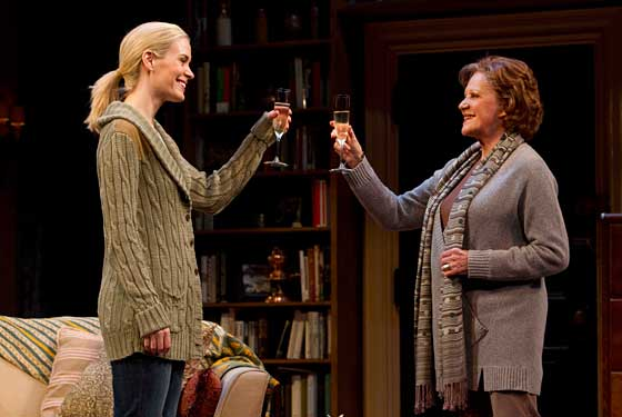 Sarah Paulson and Linda Lavin, toasting each other at the Samuel J. Friedman Theater, Broadway. Photo by Joan Marcus