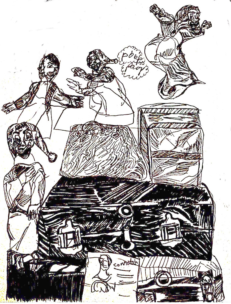 Spazzolini and his suitcase. Sketch by Chuck Schultz.