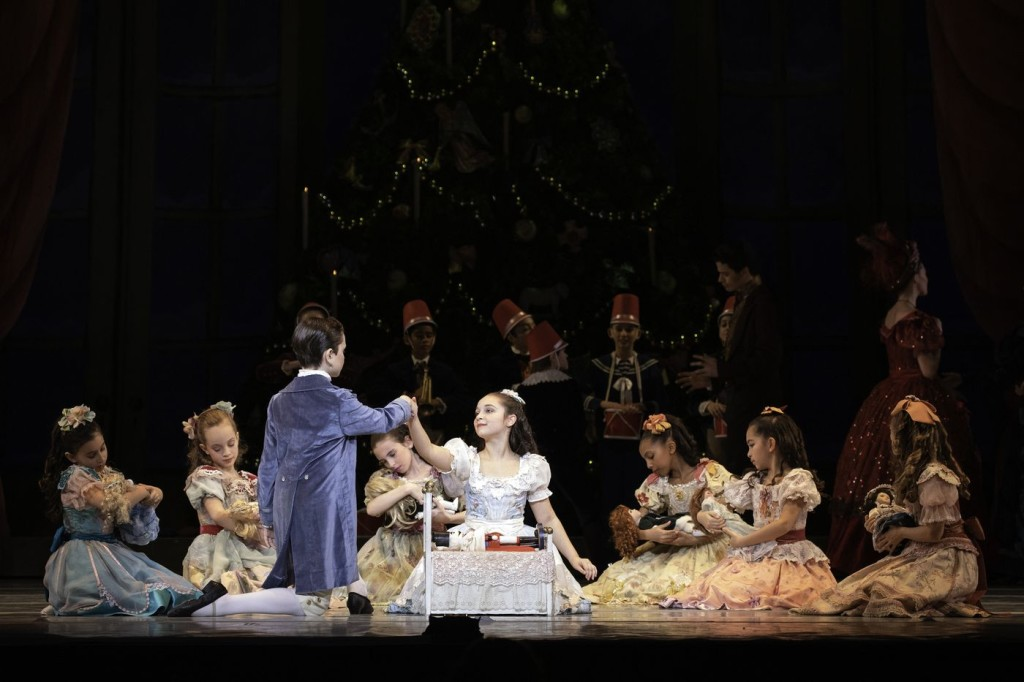 """Ava DiEmedio, Liam Agnew, and students of the School of Pennsylvania Ballet in """"The Nutcraker"""""""