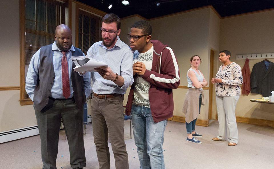 Kash Goins as Bill, Dan Hodge as Pat, Travoye Joyner as Brandon, Julianna Zinkel as Kim, Kala Moses Baxter as Ramona in Arden Theatre Company's 74 Seconds…To Judgment. Photo by Mark Garvin.
