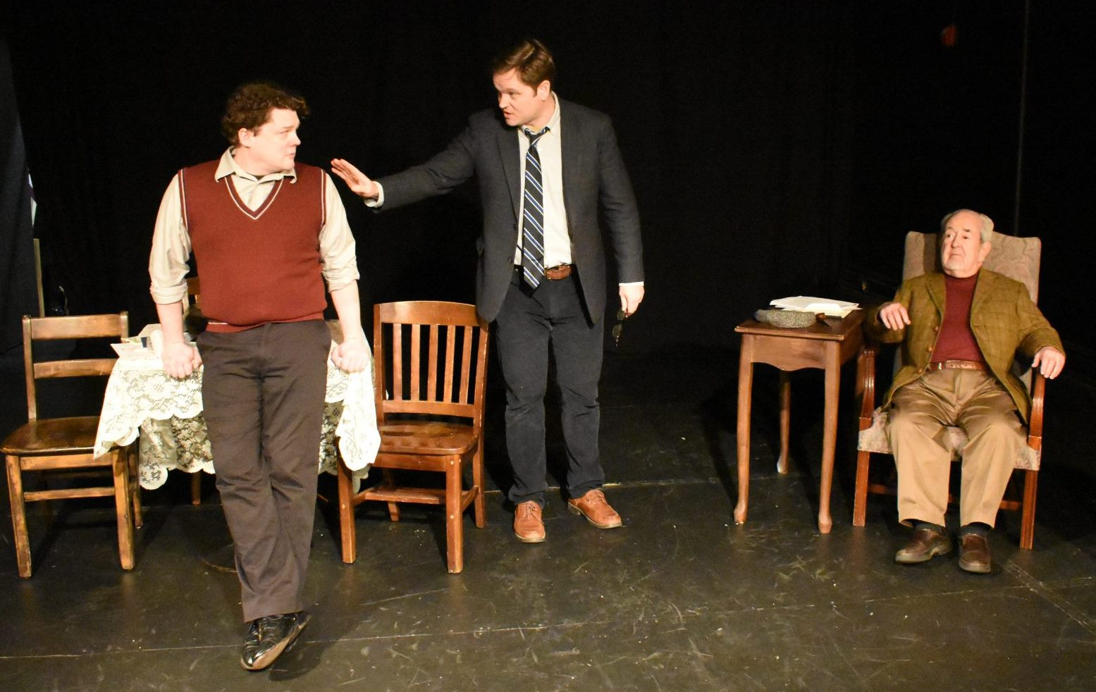 "4. Oliver Donahue as Young Charlie, Dan McGlauglin as Charlie and John Cannon as DA in Irish Heritage Theatre's production of ""Da."" Photo, GRACE MAIORANO, e1"