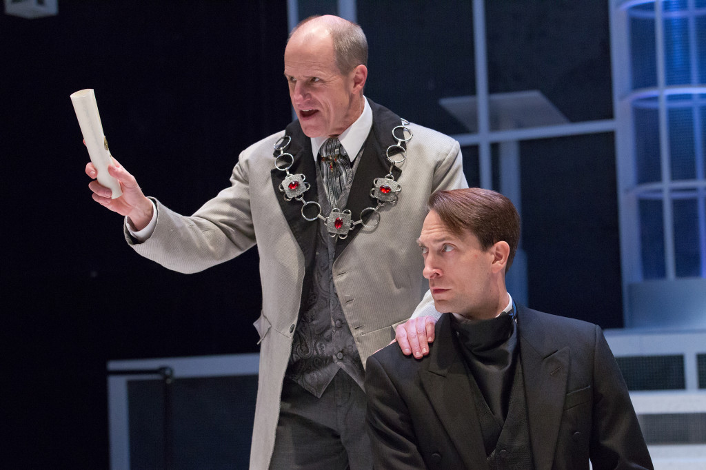 Anthony Lawton and Ben Dibble in MEASURE FOR MEASURE. Photo by Mark Garvin.