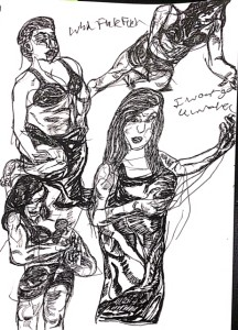 THREE SISTERS at Curio Theatre. Sketch by Chuck Schultz.
