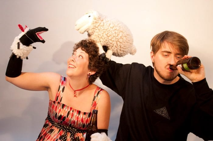Gina Leigh was the MC and Aaron Lathrop played a professor in the 2019 edition of PUPPET-DELPHIA FRINGE SLAM